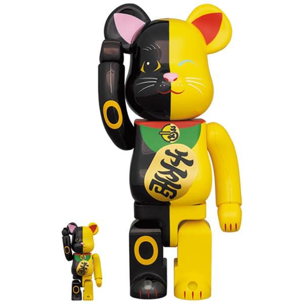 BE@RBRICK 招き猫 黒×黄 100% & 400%